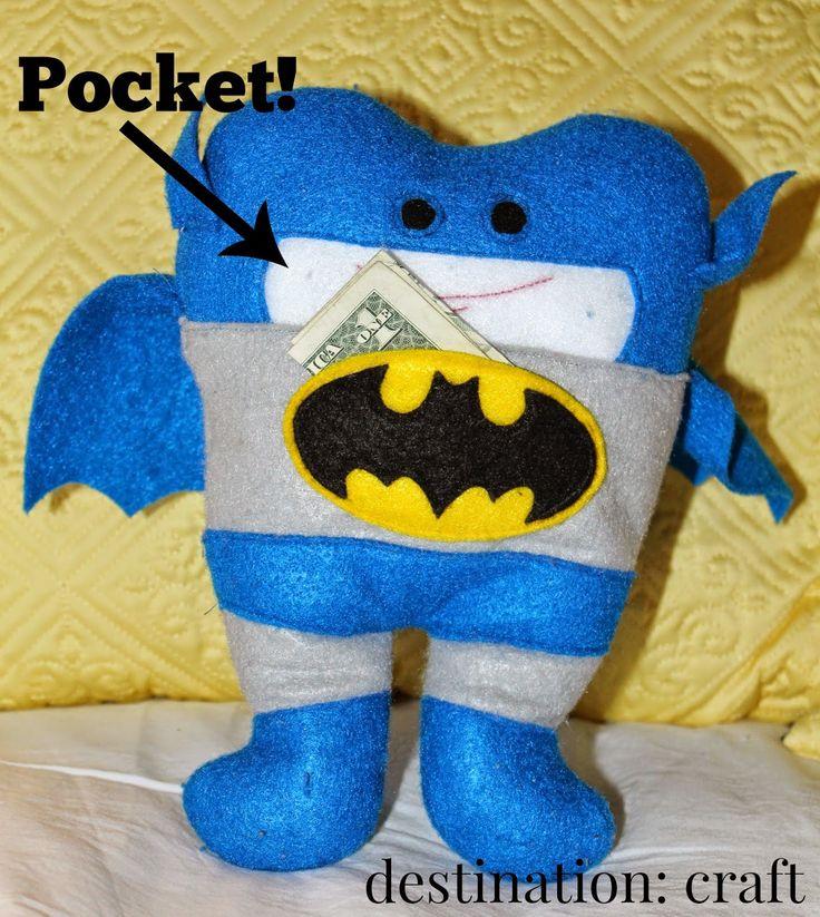 Destination craft batman tooth fairy pillow kids for Batman fairy door