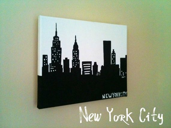 8x10 Silhouette Skyline Painting on Canvas of New York City, Nashville, Boston, Chicago, LA, Atlanta, Philly, Louisville, MORE. $27.00, via Etsy.