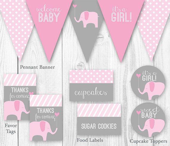 Elefante bebé ducha paquete - rosa y gris. BRICOLAJE para imprimir bebé ducha decoraciones - elefante bebé ducha Decor.