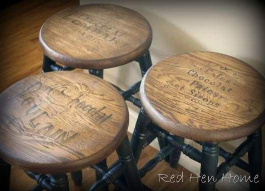 Vintage French ads painted onto kitchen stools   Red Hen HomeTop 25  best Outdoor bar stools cheap ideas on Pinterest   Pallet  . Second Hand Cafe Tables Chairs Sale Melbourne. Home Design Ideas