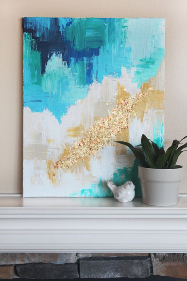 DIY Wall Art Ideas and Do It Yourself Wall Decor for Living Room, Bedroom, Bathroom, Teen Rooms |   DIY Abstract Art With A Golden Touch   | Cheap Ideas for Those On A Budget. Paint Awesome Hanging Pictures With These Easy Step By Step Tutorials and Projects  |  http://diyjoy.com/diy-wall-art-decor-ideas