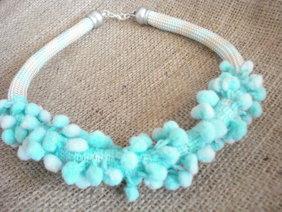 Mint green necklace, Pom pom rope necklace.