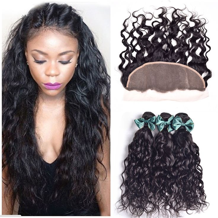 Lace Frontal Closure With Bundles 4 pcs Wet And Wavy Brazilian Virgin Hair Bundles With Frontal Closure Human Hair With Closure *** Learn more by visiting the image link.