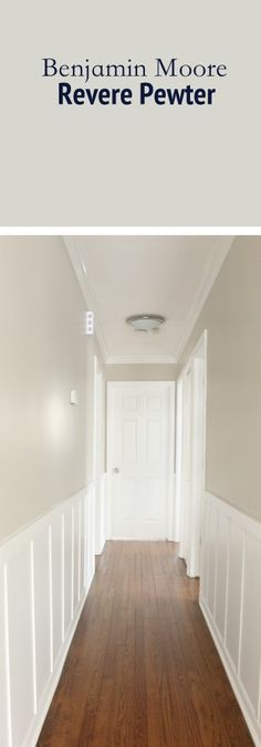 This hallway is painted in Benjamin Moores Revere Pewter. A nice warm toned gray paint color that looks good on any wall.