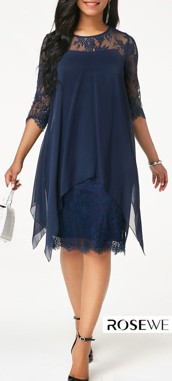 f30bb803e9e Chiffon Overlay Navy Three Quarter Sleeve Lace Dress. rosewe dress ...
