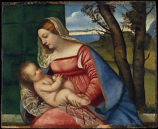 Madonna and Child  Titian (Tiziano Vecellio)  (Italian, Pieve di Cadore ca. 1485/90?–1576 Venice)  Date: ca. 1510 Medium: Oil on wood Dimensions: Overall 18 x 22 in. (45.7 x 55.9 cm); painted surface 17 x 21 1/2 in. (43.2 x 54.6 cm)