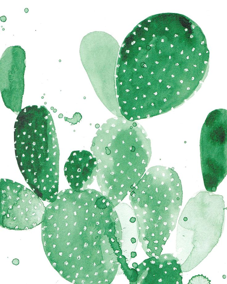 11 x 14 Paddle Cactus Print - Green Watercolor by THEAESTATE on Etsy
