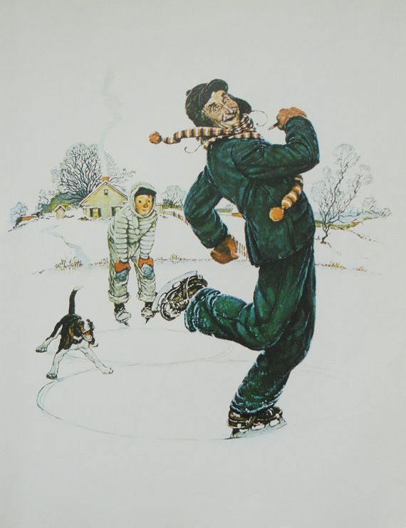 Norman Rockwell Favorite Poster, Vintage Poster Art, Grandpa and Me Winter, Christmas, Iceskating, Antique Art, Printed in 1977