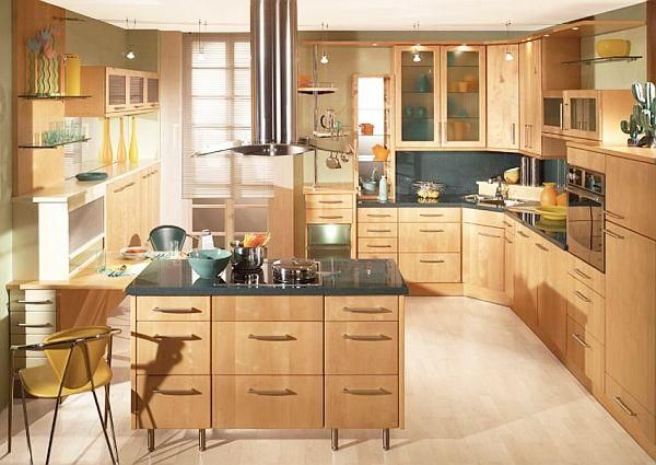 Wood kitchen and glass cabinets