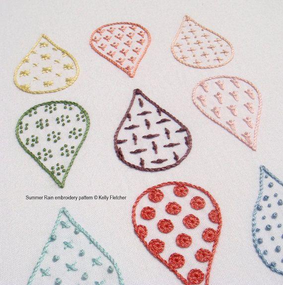 Summer Rain modern hand embroidery pattern by KFNeedleworkDesign