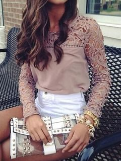 Shop Bisque Lace Panel Blouse from choies.com .Free shipping Worldwide.