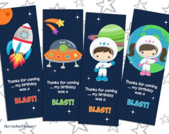 Space Rocket party pdf printable outer space PERSONALIZED cupcake toppers / favor treat bag tags - astronaut, spaceship, alien ship for boy by GlitterInkDesigns