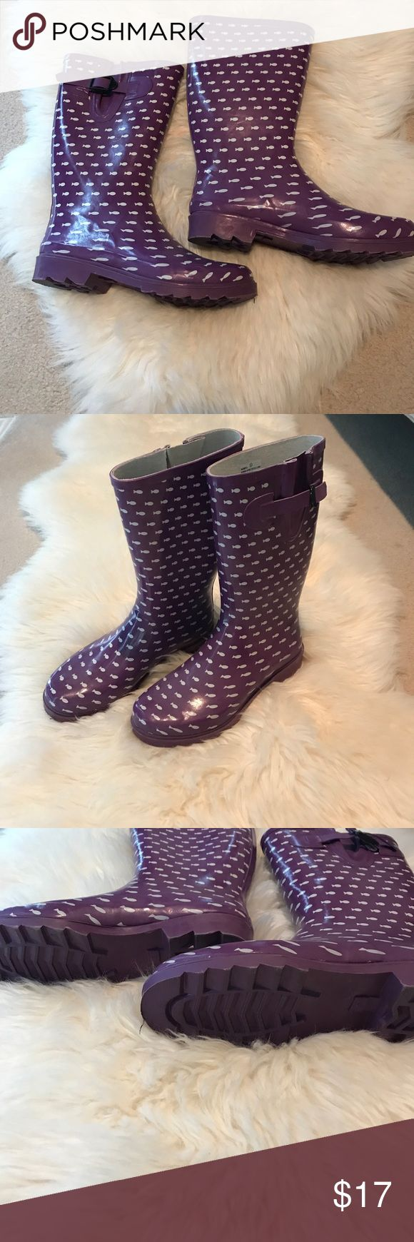 Rain Boots Cute purple rain boots with fish pattern. Worn once. Like new! Super comfortable. Shoes Winter & Rain Boots