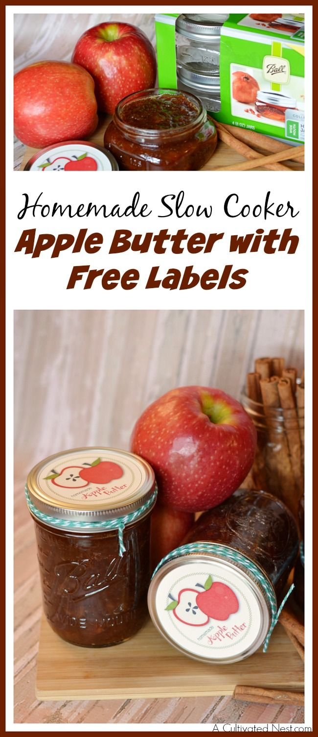 Nothing tastes as good as homemade! Check out this easy recipe for Homemade Crockpot Apple Butter, PLUS FREE PRINTABLE APPLE LABELS! What cute gift this would make!
