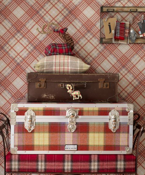 Collection of Tartan suitcases and Vivienne Westwood, Wallpaper.