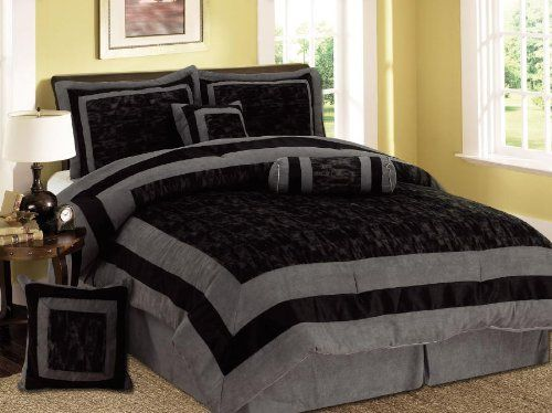 7 Pieces Black And Grey Micro Suede Comforter Set Bed-in-a
