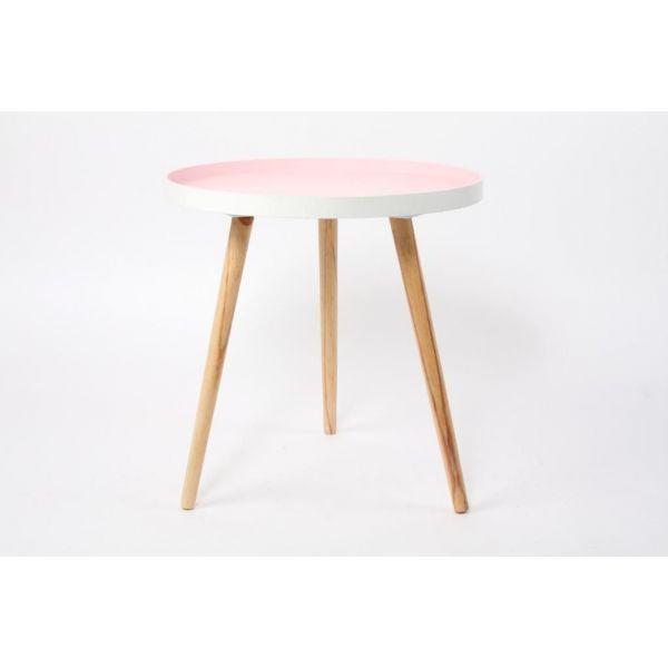 Mesa auxiliar con tablero en color rosa y patas de madera natural, de estilo nórdico. Medidas: 49 x 50 cm. Material: Madera.