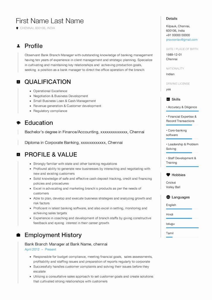 Bank branch manager resume elegant resume template of a