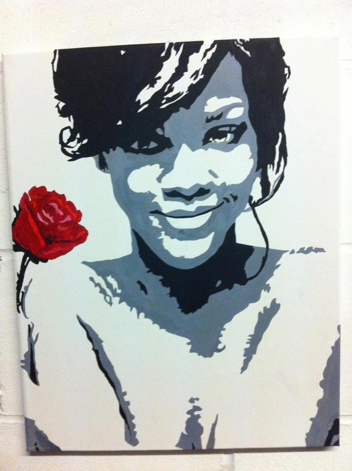 Rihanna rose. Original, Handpainted artwork by artist Charlotte-Louise. SOLD £70