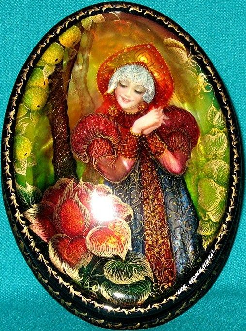 """Russian lacquer miniature from the village of Fedoskino. Russian beauty in a kokoshnik, the traditional headdress, admires a beautiful flower. It's an illustration to the fairy tale """"The Scarlet Flower""""."""