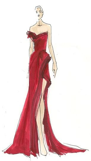 Oscar Red Carpet Trend: Striking Red Dresses |Red Carpet Dresses Drawings