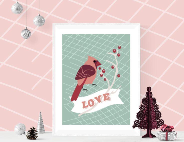 Christmas Poster, LOVE Robin Bird Poster, DIY Christmas Gift, Printable Home Decoration by ArigigiPixel on Etsy