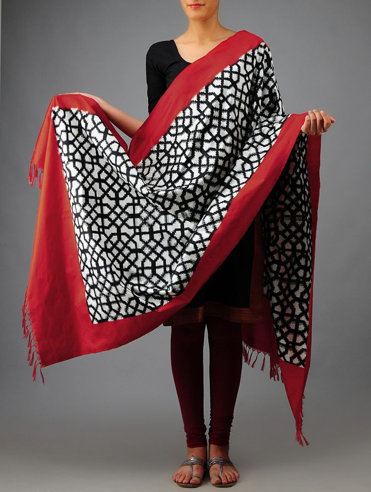 Black-White Double Ikat Silk Dupatta on Jaypore.com