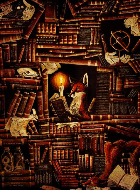 """If you look closely at the book he is reading, its """"The City of Dreaming Books"""" by Walter Moers."""