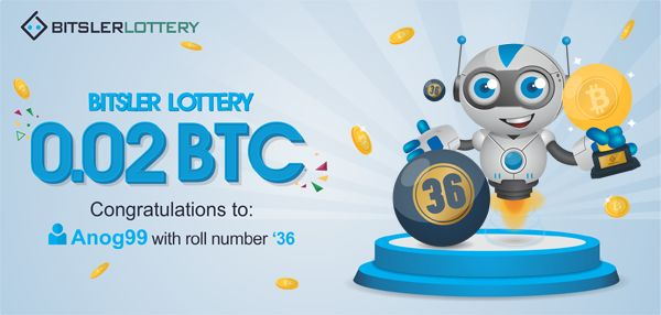 Congratulations to Anog99 who won 0.02 BTC ($340) ! The next one will take place @ btslr.co/6Qszr 😉  #winner #bitcoin #lottery #dice -- bitsler.com