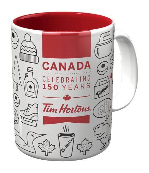 Tim Hortons Canada Celebrating 150 Years Coffee Mug. Don't miss out on this Limited Edition piece, the perfect souvenir of Canada's 150th birthday party, July 1, 2017.