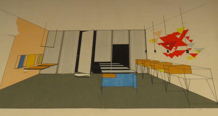Interior drawing by Ilmari Tapiovaara