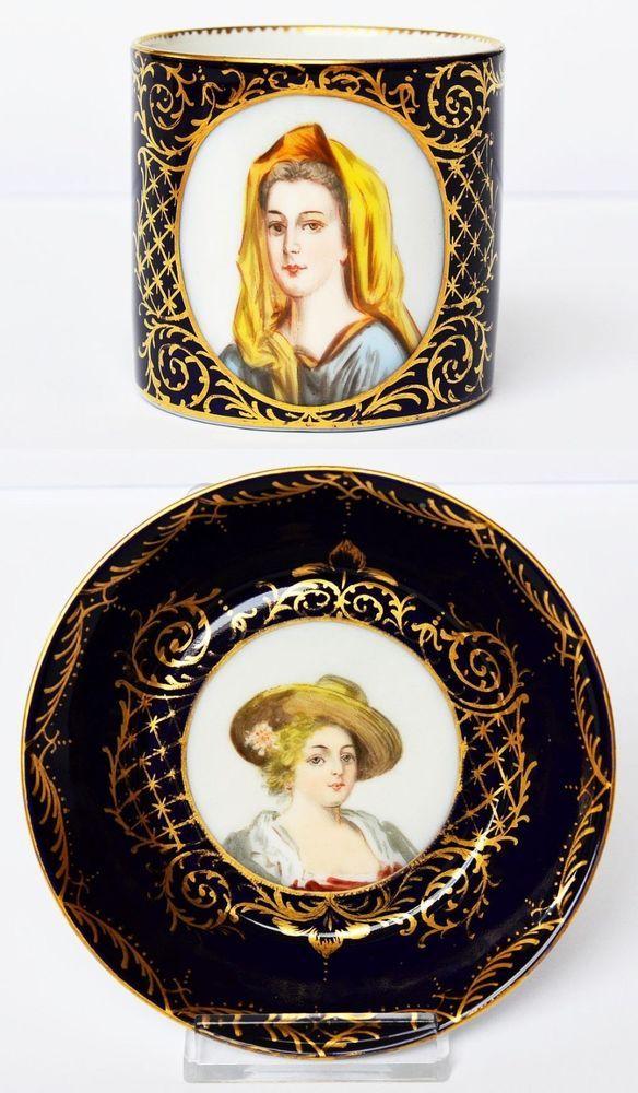 Augarten Wien Tasse + Untertasse mit 2 Porträts handgemalt Goldmalerei 1850-1864