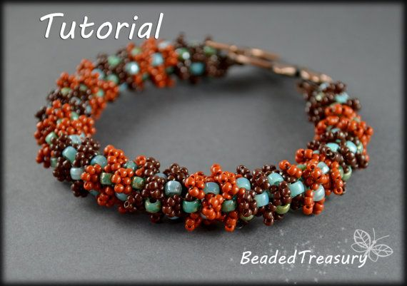 Patina Love - beadwoven bracelet in beautiful colors of patinated copper / Beadwoven bracelet tutorial / Bracelet pattern / Matubo beads pattern / Seed bead pattern / By BeadedTreasury