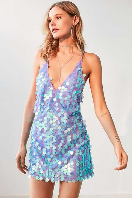 Motel Finn Sequin Mini Slip Dress