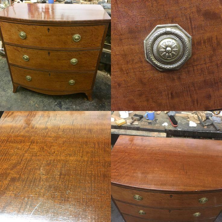 Georgian mahogany fiddle backed veneered bowed chest of draws