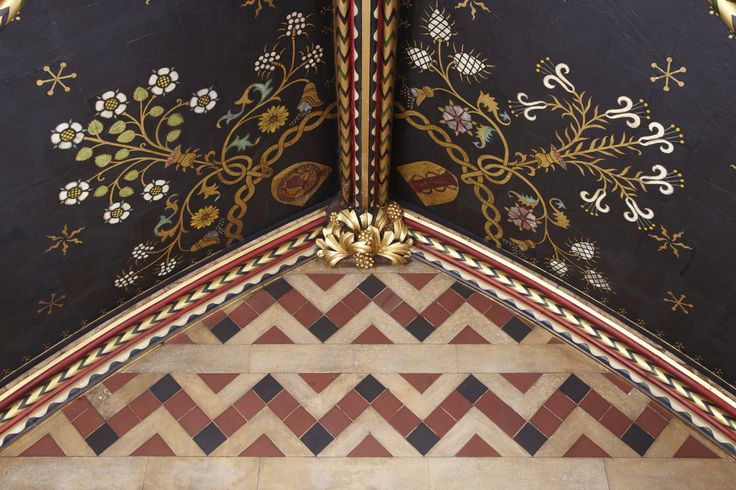 All Saints Margaret Street. Detail of Sanctuary ceiling. #allsaintsmargaretstreet #allsaints #london #churches #neogothic #butterfield #revival #decoration #architecture #gothicarchitecture #restoration #baptistery #arch #image #cityoflondon #englishchurches #red