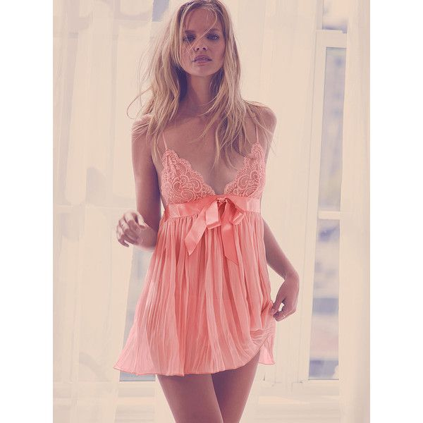 Victoria's Secret Pleated Babydoll Lingerie (170 BRL) ❤ liked on Polyvore featuring intimates, lingerie, nude, lace lingerie, baby doll lingerie, lacy lingerie, victoria secret lingerie and shiny lingerie