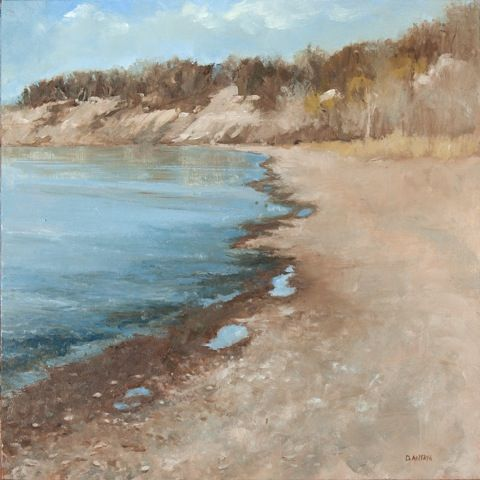 """Denise Antaya - Fall at the Beach 8""""x 8""""Oil on Ampersand"""
