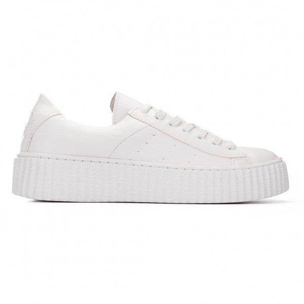 Yoins White Casual Leather Look Perforated Thick Platform Sneakers (1.106.845 VND) ❤ liked on Polyvore featuring shoes, sneakers, white, faux leather sneakers, lace up sneakers, white shoes, vegan shoes and perforated sneakers