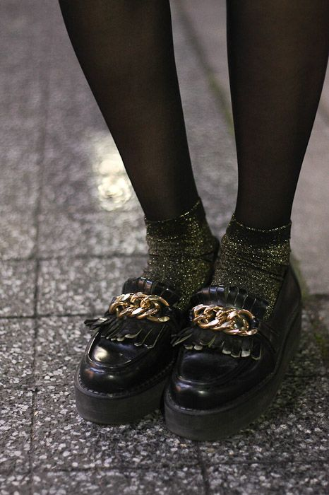 Favorite school girl trend: Loafers with socks