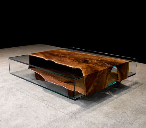 SHAZAM WRAPPED MICRO WALNUT SLAB AND GLASS COFFEE TABLE  Materials: Walnut, glass base Dimensions: 55W x 55D x 16H  Options: Wood, base, finish, custom