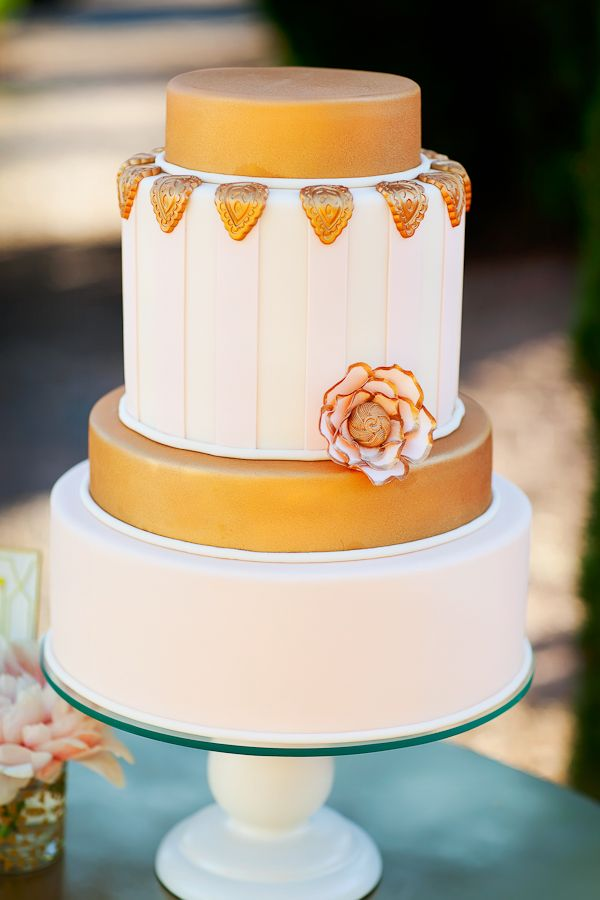 gold wedding cake from Sweet Cakes By Karen