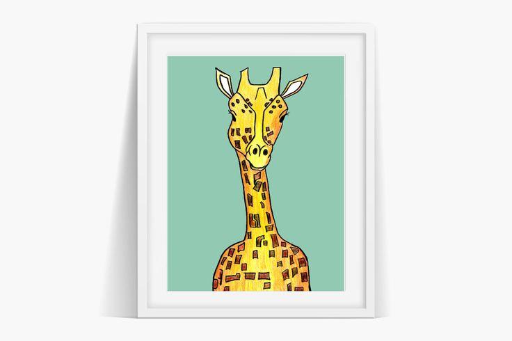 Awesome Giraffe Art Print Instant l Download . Original art reproduction digital art print.