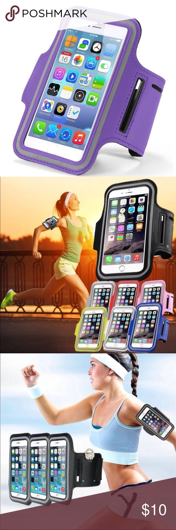 i7+/6+/6s+ High quality gym and sport armband case i7+/6+/6s+ High quality gym and sport armband case Listing is Durable water-proof, sweat-proof Sport and Gym Armband case for iPhone 7 Plus & 6 plus  & 6s Plus   This is unisex sport accessory for Women & Men indoor Gym and Outdoor sport smart phone Case holder.  High quality Nylon Bag Cover Holder specially for iPhone 7 Plus and 6 Plus and 6s Plus  Fashion color Designed for your convenience. Color: Purple  Order will ship within 24 hours…