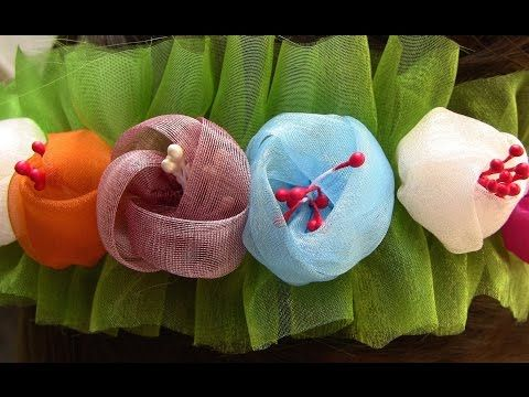 Botoes de Organza (tiara) Passo a Passo - Kanzashi Flower, Ribbon Rose,Tutorial, DIY - YouTube Más