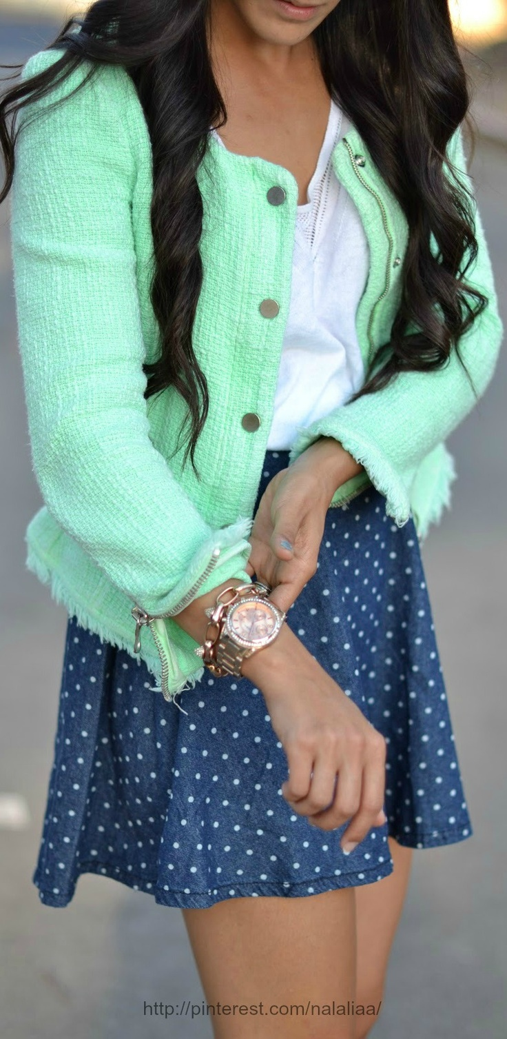 bright mint tweed blazer with adorable denim polka dot shorts. simple white top brings it all together
