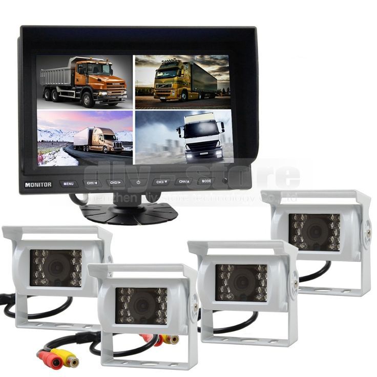 252.13$  Watch now - http://aligl2.worldwells.pw/go.php?t=32726226170 - DIYSECUR 9 Inch Split Quad Display Rear View Monitor + White 4 x CCD Camera for Car Truck Bus Video Surveillance System