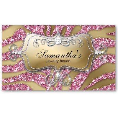 124 best designer business cards images on pinterest business 232 sparkle jewelry business zebra gold pink silv business card reheart Image collections