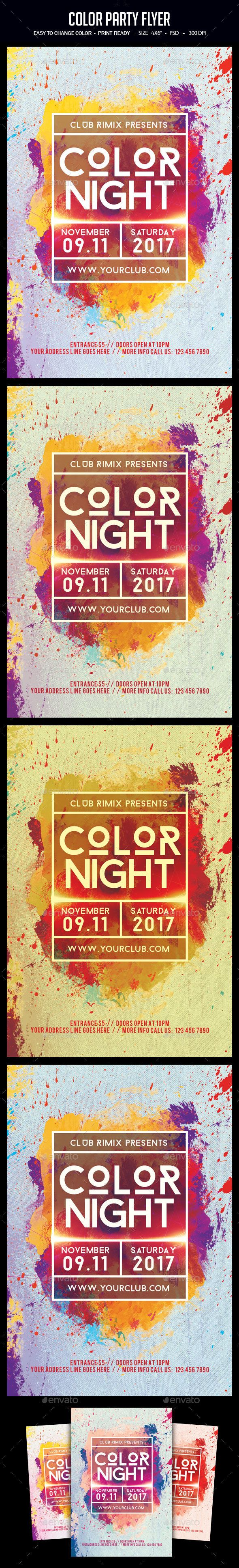 Color Party Flyer Template PSD