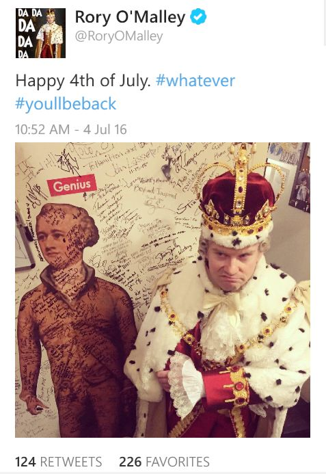 Rory O'Malley loves being King George III so much
